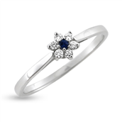 Ring roset safir 0,02 ct. + 6 brill. a 0,015 w/vs 14 kt. hvg.