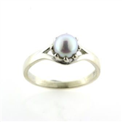 Ring perle 6 mm Fwp. 14 kt hvg