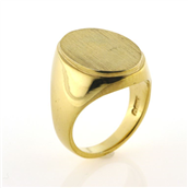 Ring oval plade, lille kant, Signetring 16,5*12 mm. 14 kt.