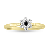Ring roset, 7* brill. 1 sort 0,03 +6*0,03 w/vs. 14 kt.