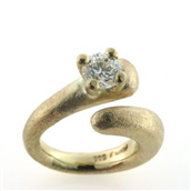 Ring 14 kt. med brilliant