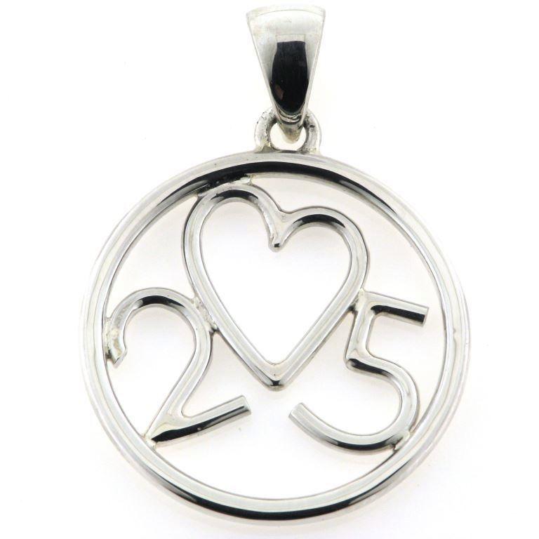 7eae115695c Vedhæng med monogram, sølvbryllup, hjerte med 25 år sølv