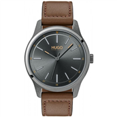 Hugo Boss Dare herreur, brun læderrem, mineralglas, 3bar, 42mm