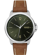 Hugo Boss Lead herreur, brun læderrem, mineralglas, 3bar, 42mm