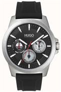 Hugo Boss Twist herreur, sort silikonerem, mineralglas, 5bar, 44mm