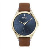 Hugo Boss Smash herreur, brun læderrem, mineralglas, 5bar, 43mm