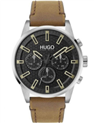 Hugo Boss Seek herreur, brun læderrem, mineralglas, 3bar, 44mm