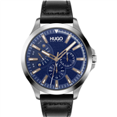 Hugo Boss Leap herreur, sort læderrem, mineralglas, 3bar, 45mm