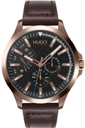 Hugo Boss Leap herreur, brun læderrem, mineralglas, 3bar, 45mm