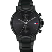 Tommy Hilfiger Daniel herreur hard coated sort stål sort skive 44mm mineralglas 5bar