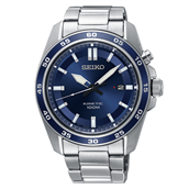 Seiko kinetic herreur stål lænke mineralglas 42,5mm 10bar dato