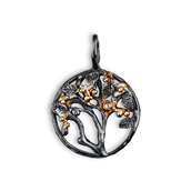By Birdie Tree of Life Large vedhæng sort rhodineret sølv m.14kt. 0,08 ct brill