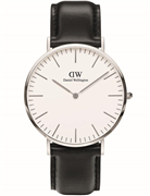Daniel Wellington herreur Classic Sheffield, læderrem sort, stål, 40mm