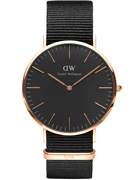 Daniel Wellington herreur Classic Black Cornwall, natorem sort, stål rosa forgyldt, 40mm