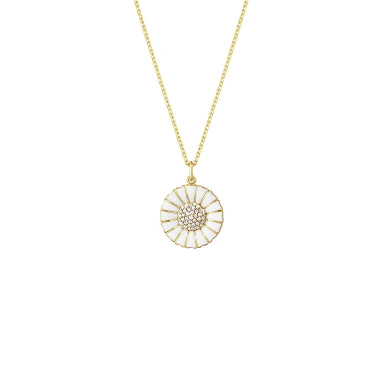 25d36e528c0 Georg Jensen Daisy halskæde sølv forgyldt med hvid emalje 0,19 ct.  diamanter 18 mm. 45 cm.