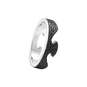 Georg Jensen Fusion ring 18 kt hg ende pavé behandlede sorte diamanter str. 48-58