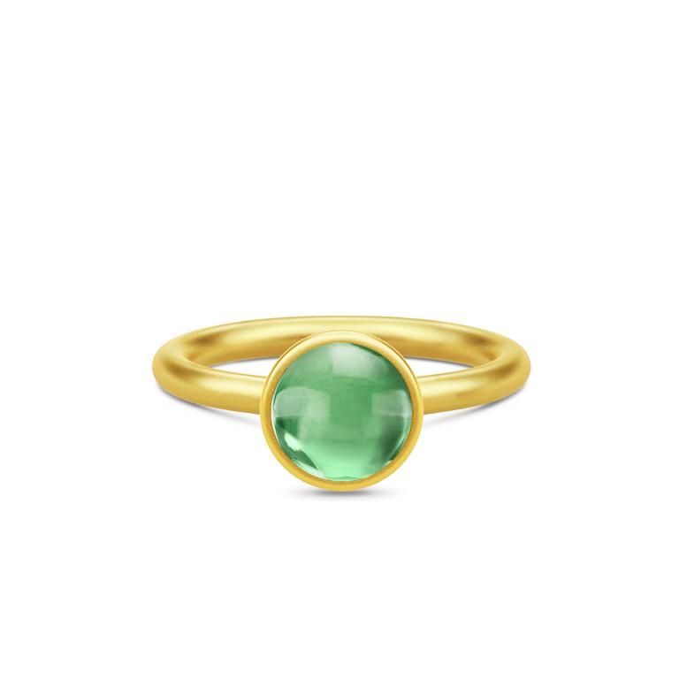 8fc44d44716 Julie Sandlau Primini ring sølv forgyldt grøn ametyst krystal str. 48-60