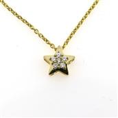 745ec1fd802 Tilbud. Kranz&Ziegler Halssmykke stjerne 8kt m/zirc. + kæde sølv forg. 45cm  *