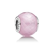 Pandora Abstract,  charm sølv m. faceteret  pink cubic zirconia