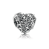 PANDORA Heart and lips sølv charm *
