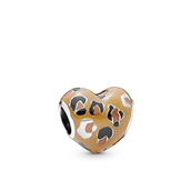 *Pandora Spotted Heart charm m. sort, brun og orange emalje