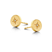 Spirit Icons ørestik North Star sølv forgyldt med diamant