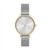 Skagen Designs, Dameur, stål double bi-color, hvid skive 30 mm., mesh lænke