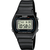 CASIO CLASSIC/RETRO (3294) sort plastik rem digital unisex 35mm